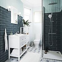 Hydrolic Blue Matt Flower Concrete effect Porcelain Floor tile, Pack of 25, (L)200mm (W)200mm