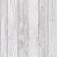 Ideco Home Ideco home Grey Wood effect Smooth Wallpaper
