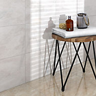Illusion White Gloss Patterned Marble effect Ceramic Floor tile, Pack of 10, (L)360mm (W)275mm