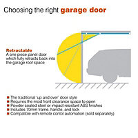Indiana Framed White Retractable Garage door, (H)2134mm (W)2134mm