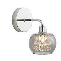 Intra Beaded Polished Smoke Chrome effect Bathroom Wall light
