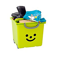Iris Children's smiley Green 30.6L Plastic Stackable Storage box