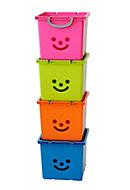 Iris Children's smiley Pink 30.6L Plastic Stackable Storage box