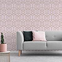 Julien MacDonald Disco vogue Pink Geometric Metallic effect Smooth Wallpaper