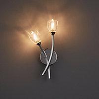 Kalang Chrome effect Double Bathroom Wall light