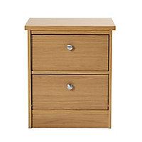 Kendal Oak effect 2 Drawer Bedside chest, Set of 2 (H)560mm (W)480mm (D)400mm