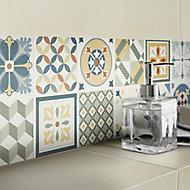 Konkrete Multicolour Matt Concrete effect 3D decor Ceramic Wall Tile, Pack of 8, (L)600mm (W)200mm