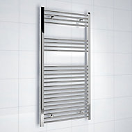 Kudox 381W Electric Silver Towel heater (H)1200mm (W)600mm