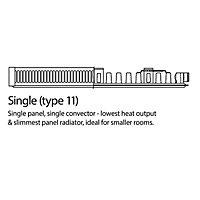 Kudox Type 11 Single Panel Radiator, White (W)800mm (H)500mm 11.3kg