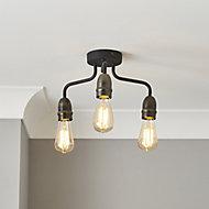 KYAT Matt Black & bronze 3 Lamp Ceiling light