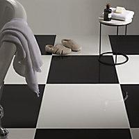 Latinie White Plain Porcelain Floor tile, Pack of 3, (L)600mm (W)600mm