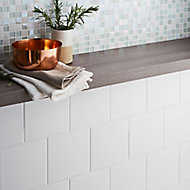 Leccia White Gloss Ceramic Wall tile, Pack of 44, (L)150mm (W)150mm, Sample