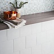 Leccia White Gloss Plain Ceramic Wall Tile Sample, Pack of 44