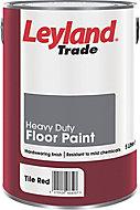 Leyland Trade Heavy duty Tile red Satin Floor paint, 5L