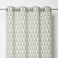 Lindi Green & white Geometric Unlined Eyelet Curtain (W)140cm (L)260cm, Single