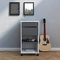 Liten Matt white & grey 1 Shelf Storage unit (H)769.4mm (W)402mm (D)482mm