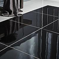 Livourne Black Plain Porcelain Wall & floor tile, Pack of 3, (L)600mm (W)600mm