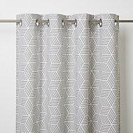 Luena Grey & white Geometric Unlined Eyelet Curtain (W)117cm (L)137cm, Single