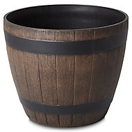 Lule Wood effect Plastic Plant pot (Dia)38cm