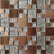Luxe Brushed Copper effect Mosaic tile, (L)300mm (W)300mm