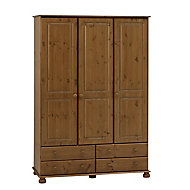 Malmo Stained Pine 4 Drawer Triple Wardrobe (H)1853mm (W)1296mm (D)570mm