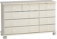 Malmo Stained White 9 Drawer Chest (H)741mm (W)1206mm (D)383mm