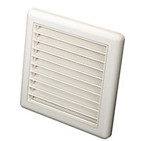 Manrose White Square Applications requiring low extraction rates Fixed louvre vent, (H)140mm (W)140mm