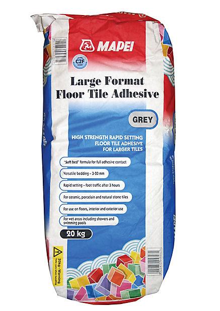 mapei large format grey floor tile adhesive 20kg