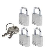 Master Lock Aluminium Cylinder Open shackle Padlock (W)20mm, Pack of 4