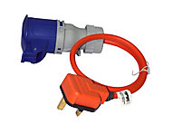 Masterplug 1 socket 13A Orange Extension lead, 0.5m