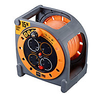 Masterplug 4 socket Cable reel, 15m