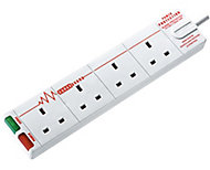 Masterplug 4 socket White Extension lead, 8m