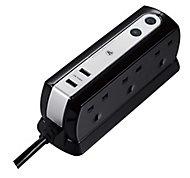 Masterplug Black 6 socket Extension lead with USB, 2m