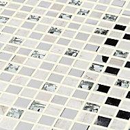 Mecine Grey Glass effect Mosaic tile, (L)300mm (W)300mm