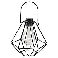 Metal & plastic Black Solar-powered Outdoor LED Mini lantern