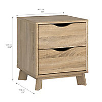 Metcalfe Oak effect 2 Drawer Bedside chest, Set of 2 (H)524mm (W)407mm (D)390mm