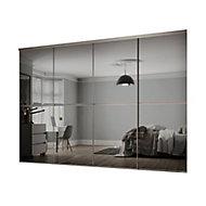 Minimalist Mirrored Grey 4 door Sliding Wardrobe Door kit (H)2260mm (W)3008mm