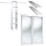 Mirrored White 2 door Sliding Wardrobe Door kit with internal storage (H)2220mm (W)1200mm
