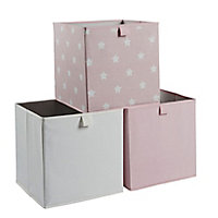 Mixxit Star Pink & white Cardboard & polyester (PES) Foldable Storage basket (H)310mm (W)310mm