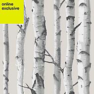 Wallpops Birch tree Grey Peel & stick wallpaper (L)5500mm (W)520mm