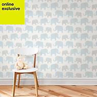 Wallpops Elephant parade Blue Peel & stick wallpaper (L)5500mm (W)520mm