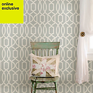 Wallpops Grand trellis Grey Peel & stick wallpaper (L)5500mm (W)520mm