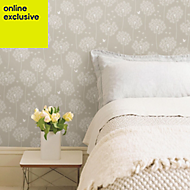 Wallpops Dandelion Taupe Peel & stick wallpaper (L)5500mm (W)520mm