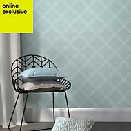 Wallpops Quatrefoil Blue Peel & stick wallpaper (L)5500mm (W)520mm