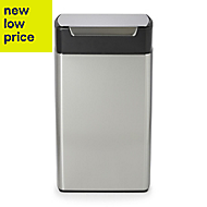 Simplehuman Brushed Stainless steel Rectangular Touch bar bin, 40L