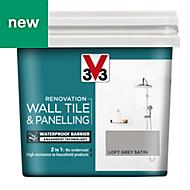 V33 Renovation Loft grey Satin Wall tile & panelling paint 0.75L