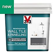 V33 Renovation Anthracite Satin Wall tile & panelling paint 0.75L