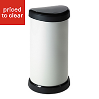 Curver Deco Cream Plastic Semi-circle Touch top kitchen bin, 40L