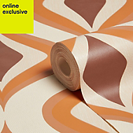 Graham & Brown Superfresco easy Choc & orange Retro Wallpaper