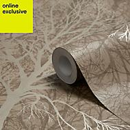 Graham & Brown Enchant Golden brown Tree Wallpaper